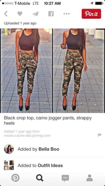 pants joggers khaki pants baggy pants comfy tank top