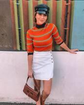 skirt,mini skirt,white skirt,button up skirt,turtleneck,handbag,cap