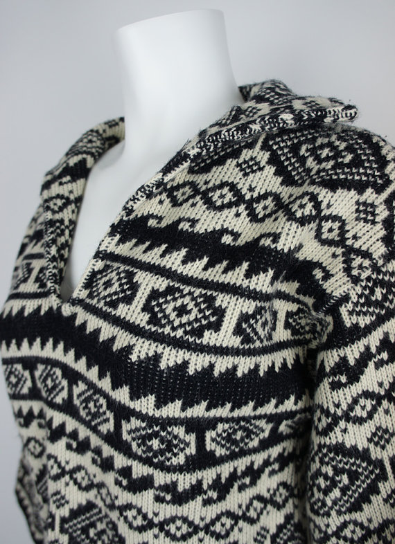 1960s Aztec Pattern Knit Sweater by LeRoy by foundationvintage