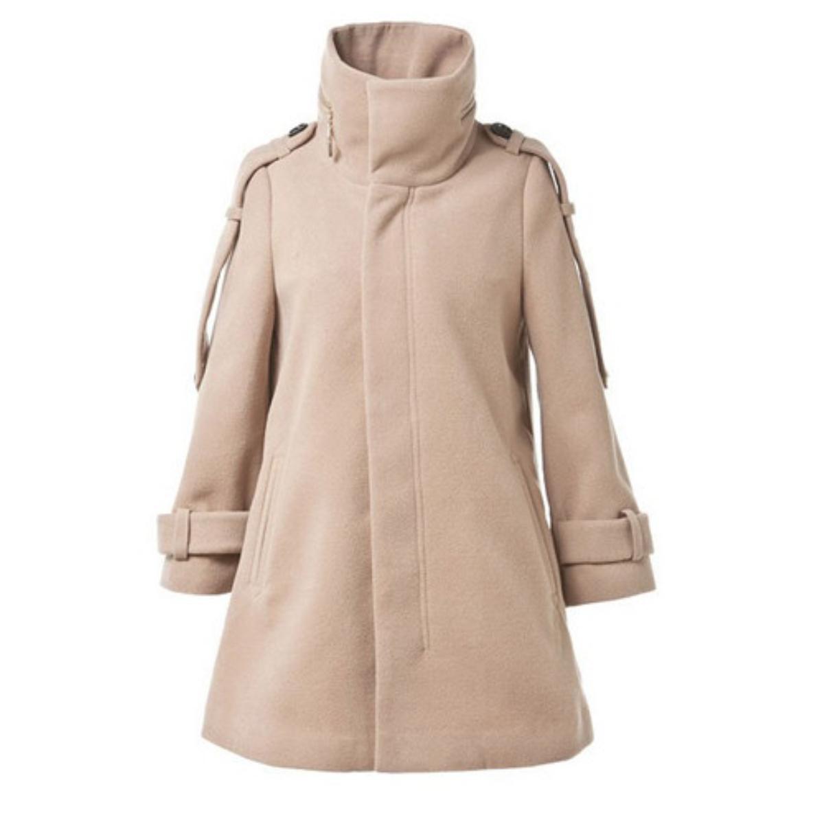 Stand Collar Three Quarter Sleeve Woolen Coat,Cheap in Wendybox.com