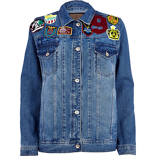 Mid wash badge detail denim jacket