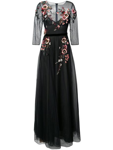gown women embellished floral black dress