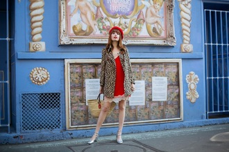miss pandora blogger dress coat shoes red dress animal print beret spring outfits