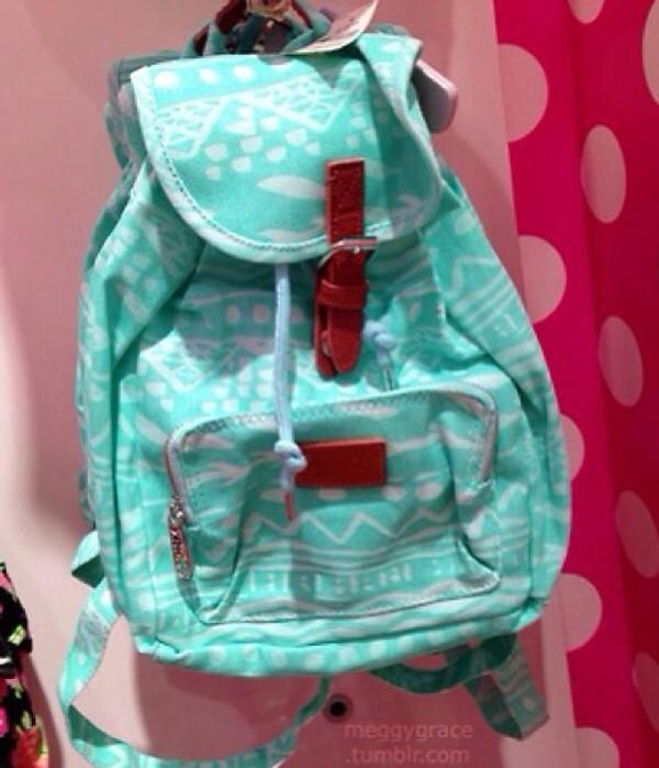 bag tribal pattern mint pastel blue victoria's secret canvas backpack cute backpack back to school mint