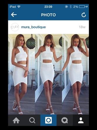 dress white co ords mura boutique asymmetrical skirt