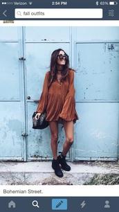 long sleeve dress,rust,fall dress,ruffle,short dress