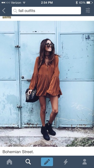 long sleeve dress rust fall dress ruffle short dress dress brow brown dress boho hippie beige summer hippie dress summer dress