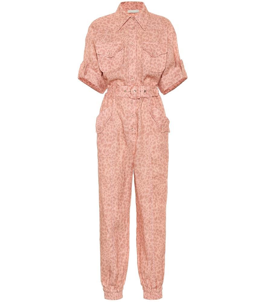 Exclusive to Mytheresa – Leopard-print linen jumpsuit
