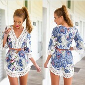 dress,floral,v neck,romper,lace,beach,instagram,beautiful,floral v-neck spliced lace printed dress,floral dress,chiffon& lace ruffles,girl,summer,vintage&vongue,street,new,jumpsuit,beach dress,lace romper,lace dress,white,paisley,royal blue dress