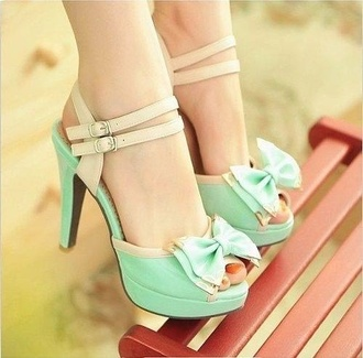 shoes teal pumps bow heels bow teal cute