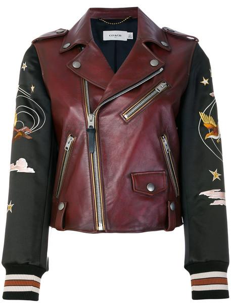 coach jacket biker jacket embroidered women brown