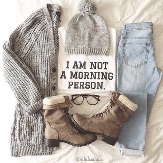 shoes morning t-shirt tumblr shirt modern cardigan grey jeans blouse sunglasses hat