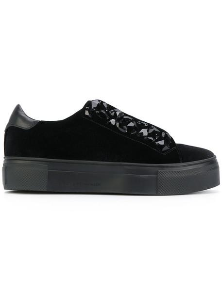 Kennel & Schmenger women embellished sneakers lace leather cotton black velvet shoes