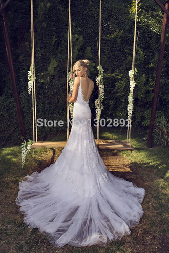 backless long train wedding dress