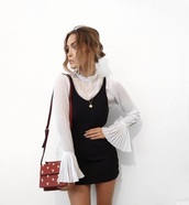 blouse,long sleeves,white,ruffle,collar,cute