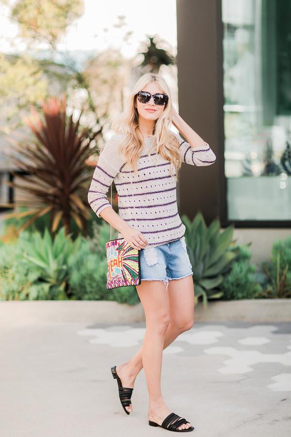 modern ensemble blogger sweater shorts shoes bag