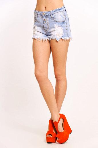 Makea Distressed Denim Shorts - Pop Couture