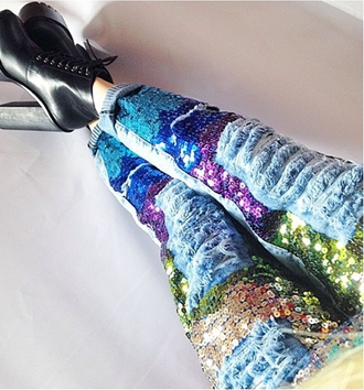 pants glitter rainbow jeans fashion style cool swag denim sequins ripped jeans colorful