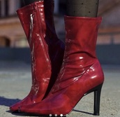 shoes,boots,red,red boots,red heels,cherry red,vintage,vintage boots,ankle boots,red ankle boots