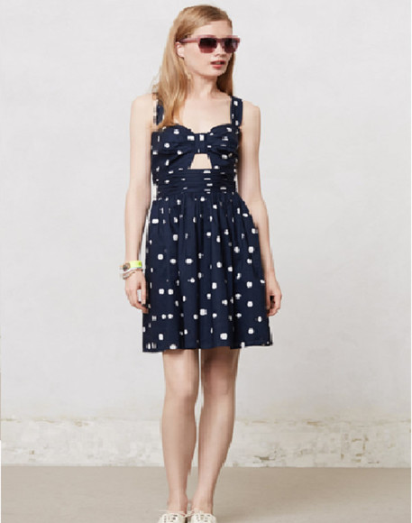 dress sundress bow polka dots dress
