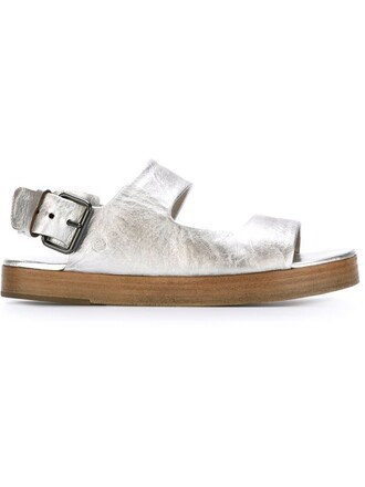 metallic women sandals leather grey shoes