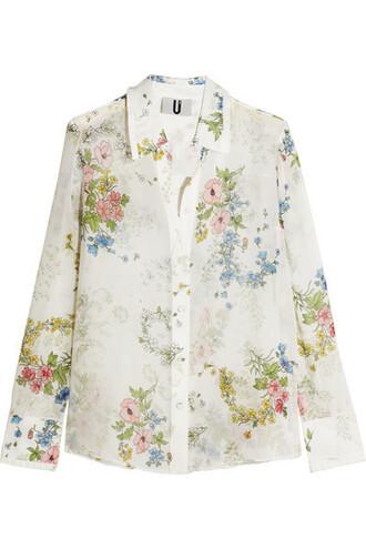 shirt floral white print silk off-white top