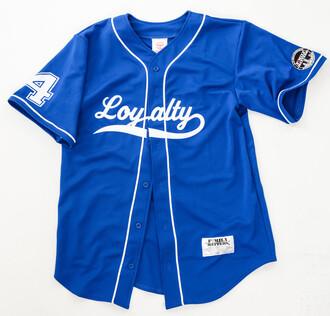 shirt baseball jersey royal blue white