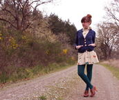 dress,glasses,tights,butterfly,navy,blazer,ring,bracelets,skater dress,emerald green,wedge booties,Bow Back Dress,shoes