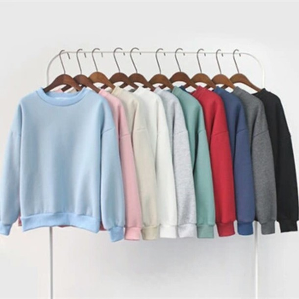 Sweater: sweatshirt, grey, grey sweater, pastel, pastel pink ...