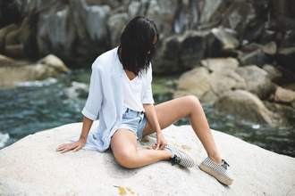 lucitisima blogger platform shoes beach shoes striped shirt ripped shorts