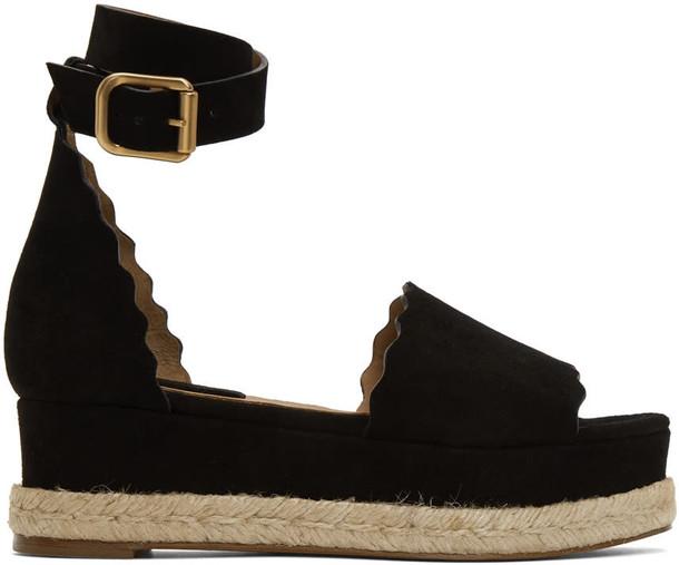 Chloe sandals suede black shoes