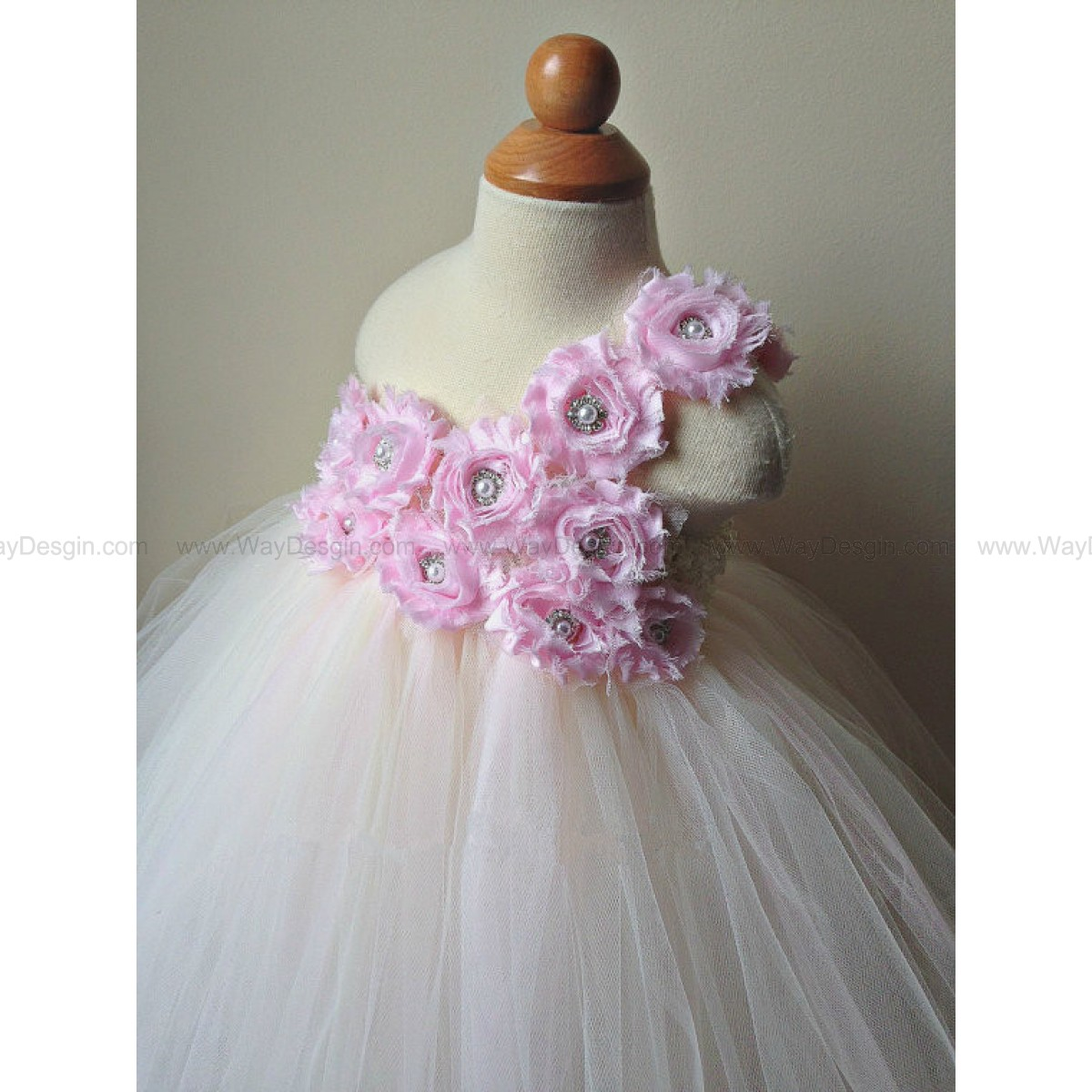 Flower girl dress ivory and rosette tutu dress, chiffton roses, baby tutu dress, toddler tutu dress,newborn