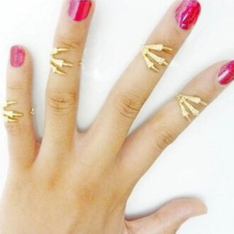 jewels ring jewelry hand jewelry nail polish nails knuckle ring gold gold ring