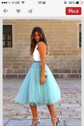 shirt,crinoline,pettociat,skirt,tulle skirt,style,high heels,dress,coosy turquoise tulle skirt,blue,pastel,floaty,tutu,tea length,layered skirt,light blue skirt,tulle turquoise,petticoat,tule,blogger,clothes,celeb,love