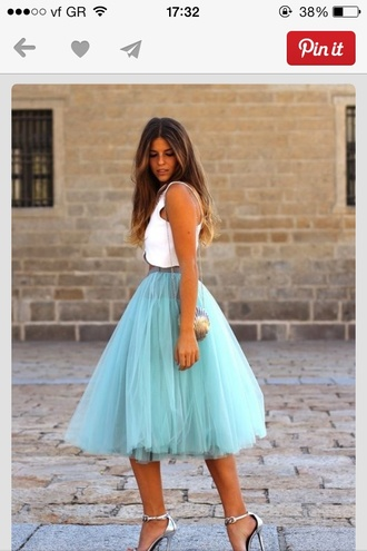 shirt skirt tulle skirt fashion style high heels dress coosy turquoise tulle skirt blue pastel floaty tutu tea length layered skirt light blue skirt tulle turquoise petticoat tule blogger clothes celeb sex and the city love carrie bradshaw