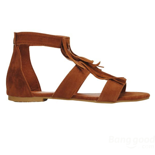 Roman Style T Strap Tassels Suede Flat Sandals - CA$16.22