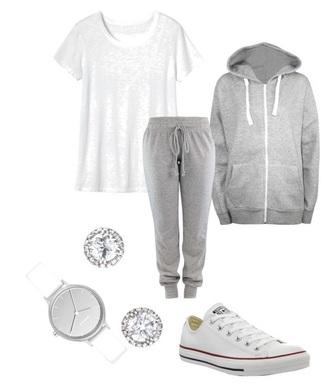 jacket grey white watch grey sweatpants