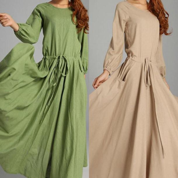 dress linen dress green dress khaki skirt