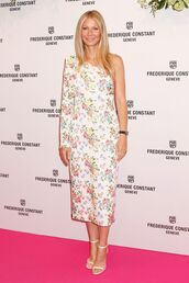 dress,midi dress,one shoulder,gwyneth paltrow,floral,floral dress,celebrity