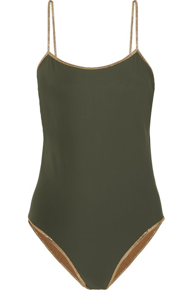 Tooshie - Reversible Lurex-trimmed swimsuit