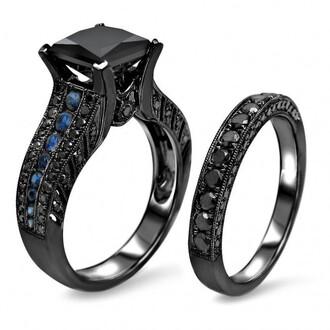 jewels black engagement ring set four-prong set 2.0 ct princess cut black diamond wedding set with blue sapphire blue sapphire bridal ring set evolees.com