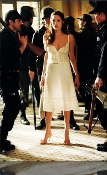 top angelinajolie fashion ootd summer summer dress summer outfits skirt angelina jolie white dress white crop tops white cropped low cut