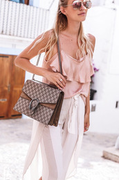 top,tumblr,pink top,ruffle,ruffled top,bag,chain bag,dionysus,gucci,gucci bag,pants,white pants,summer outfits,summer top,sunglasses,mirrored sunglasses