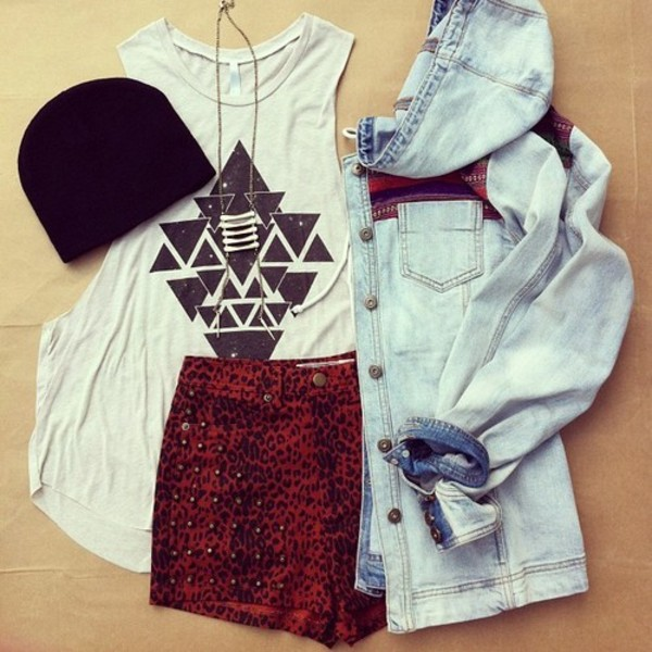 jacket shorts tank top shirt tribal pattern blouse jewels black and white muscle tee necklace black beanie beanie long necklace denim jacket patterned jacket leopard print studs oxblood studed shorts printed t-shirt graphic tee sleeveless tee embellished jacket hoodie hoodie jacket denim chambray chambray jacket pendant high waisted High waisted shorts aztec coat top cool cute jacket hat t-shirt red ariana grande red shorts cute marque couleur