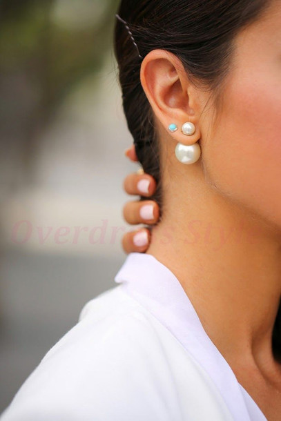 summer new back full women ear earrings sided fashion front for stud crystal item style double