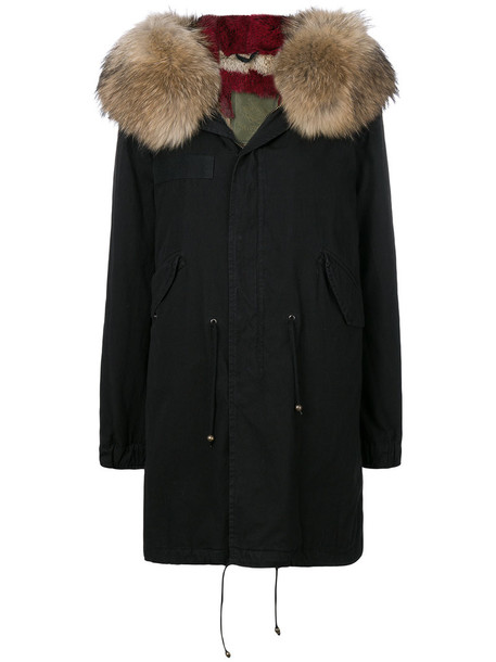 parka fur women midi cotton black coat