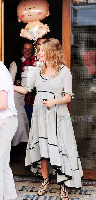 dress sienna miller gray maxi dress boho flowy asymmetrical