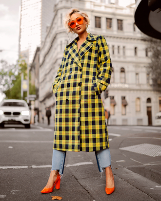 jeans coat checkered coat denim shoes orange shoes checkered sunglasses
