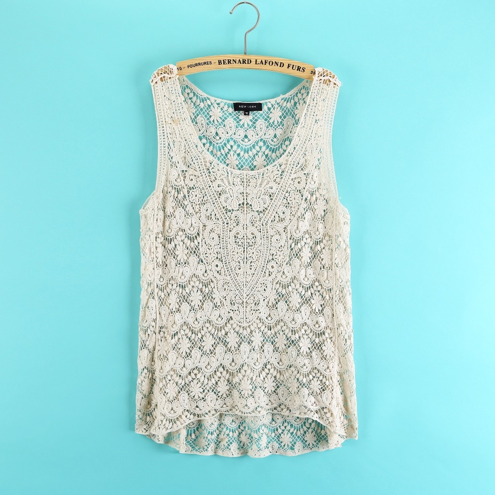New Sexy Floral Embroidery Crochet Lace Vest Hollow Asymmetry Cute Tops Loose Pluse Size Women Beach Blouse Blusa Free Shipping-in Blouses & Shirts from Apparel & Accessories on Aliexpress.com