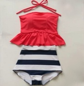 swimwear,vintage bikini,tankini,high wasted swimwear,modest swim